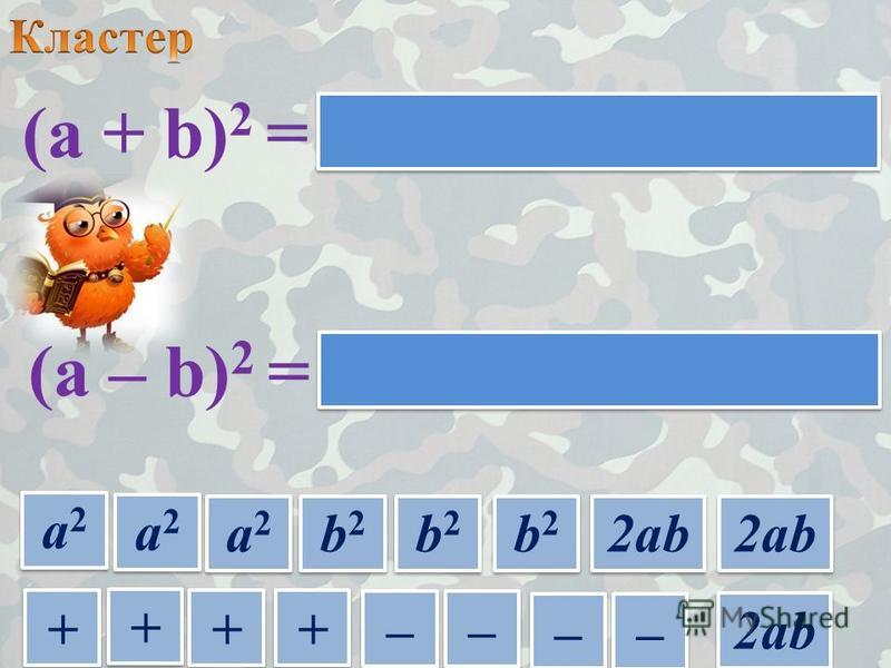 а 2 а 2 а 2 а 2 (a + b) 2 = (a – b) 2 = + + + + + + + + – – – – – – – – а 2 а 2 а 2 а 2 а 2 а 2 а 2 а 2 b2b2 b2b2 b2b2 b2b2 b2b2 b2b2 2ab