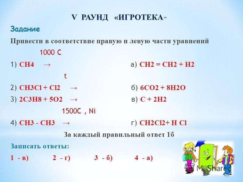 V РАУНД «ИГРОТЕКА » Задание Привести в соответствие правую и левую части уравнений 1000 С 1) СН4 а) СН2 = СН2 + Н2 t 2) СН3Cl + Сl2 б) 6СО2 + 8Н2О 3) 2C3H8 + 5О2 в) С + 2Н2 1500C, Ni 4) CH3 - CH3 г) СН2Сl2+ Н Сl За каждый правильный ответ 1 б Записат