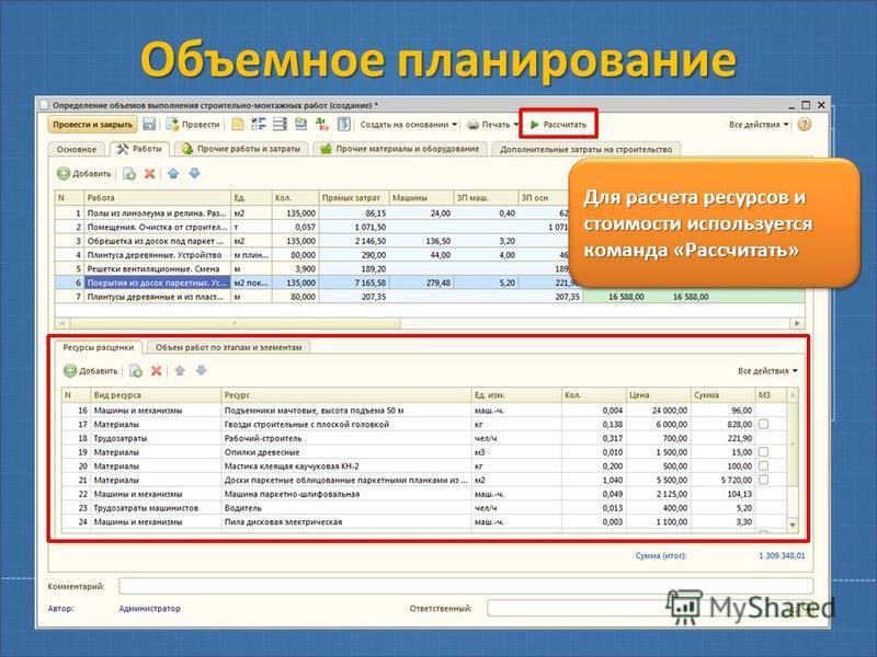 Объемное планирование Для расчета ресурсов и стоимости используется команда «Рассчитать»