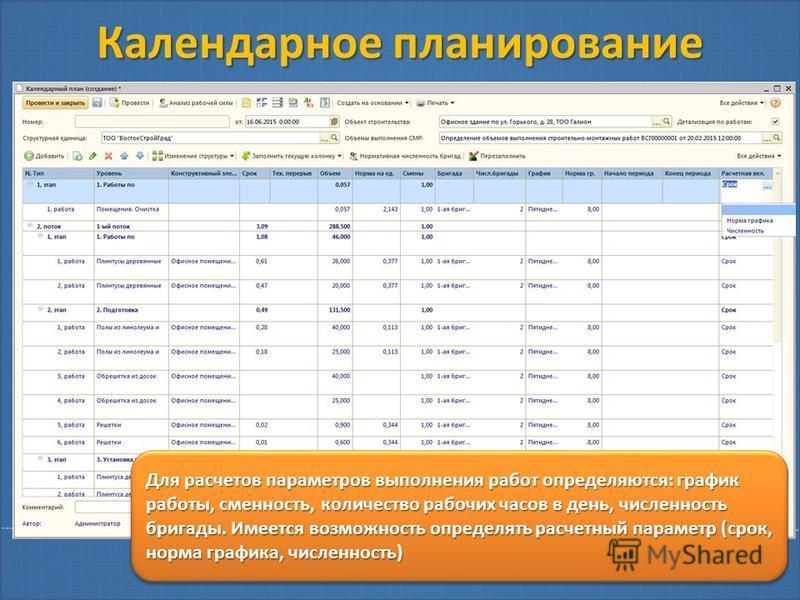 Календарное планирование Для расчетов параметров выполнения работ определяются: график работы, сменность, количество рабочих часов в день, численность бригады. Имеется возможность определять расчетный параметр (срок, норма графика, численность)