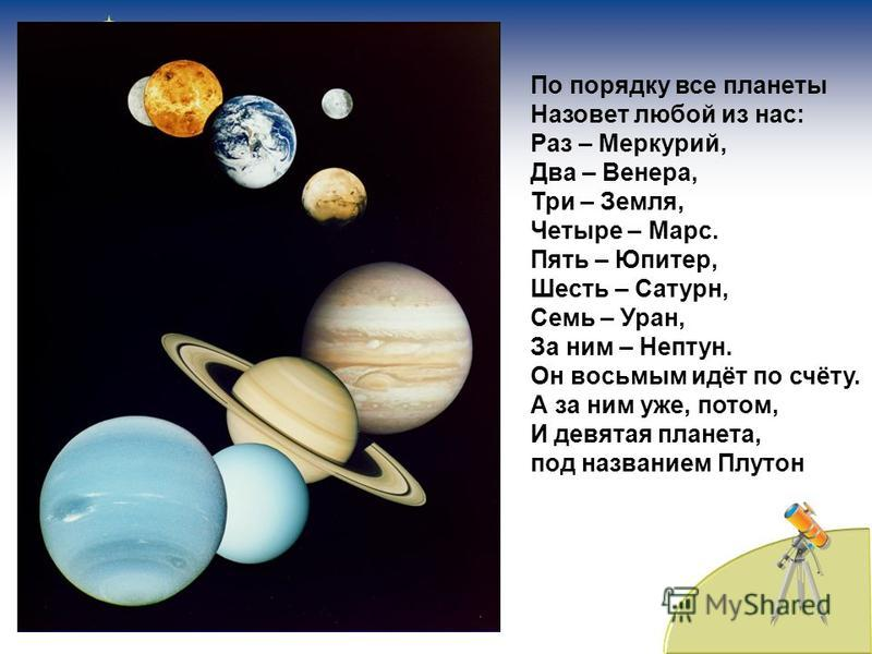 По порядку все планеты Назовет любой из нас: Раз – Меркурий, Два – Венера, Три – Земля, Четыре – Марс. Пять – Юпитер, Шесть – Сатурн, Семь – Уран, За ним – Нептун. Он восьмым идёт по счёту. А за ним уже, потом, И девятая планета, под названием Плутон