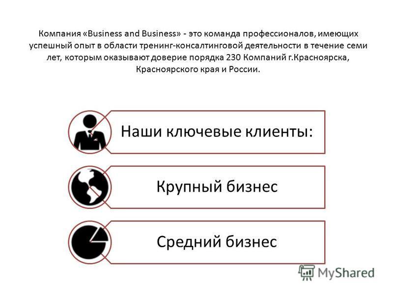 Компания «Business and Business» - это команда профессионалов, имеющих успешный опыт в области тренинг-консалтинговой деятельности в течение семи лет, которым оказывают доверие порядка 230 Компаний г.Красноярска, Красноярского края и России. Наши клю
