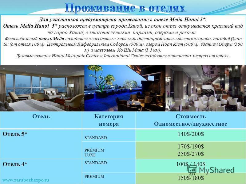 Отель Категория номера Стоимость Одноместное/двухместное Отель 5* STANDARD 140$/200$ PREMIUM LUXE 170$/190$ 250$/270$ Отель 4* STANDARD 100$ / 140$ PREMIUM 150$/180$ www.zarubezhexpo.ru Для участников предусмотрено проживание в отеле Melia Hanoi 5*.