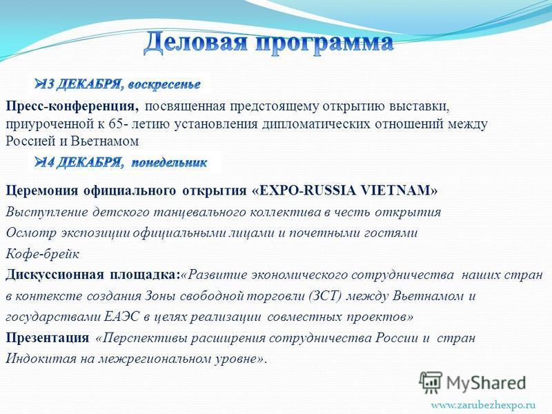 Церемония официального открытия «EXPO-RUSSIA VIETNAM» Выступление детского танцевального коллектива в честь открытия Осмотр экспозиции официальными лицами и почетными гостями Кофе-брейк Дискуссионная площадка:«Развитие экономического сотрудничества н