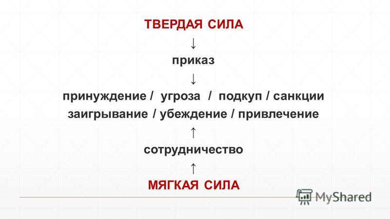 ТВЕРДАЯ СИЛА приказ принуждение / угроза / подкуп / санкции заигрывание / убеждение / привлечение сотрудничество МЯГКАЯ СИЛА