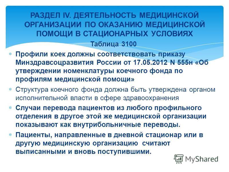 Таблица 3100 Профили коек должны соответствовать приказу Минздравсоцразвития России от 17.05.2012 N 555 н «Об утверждении номенклатуры коечного фонда по профилям медицинской помощи» Структура коечного фонда должна быть утверждена органом исполнительн
