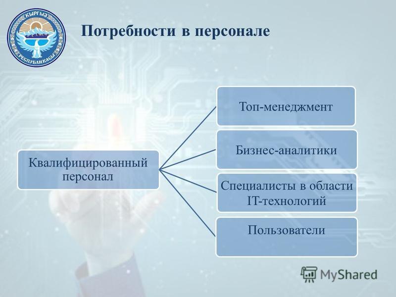 Потребности в персонале Квалифицированный персонал Топ-менеджмент Бизнес-аналитики Специалисты в области IT-технологий Пользователи
