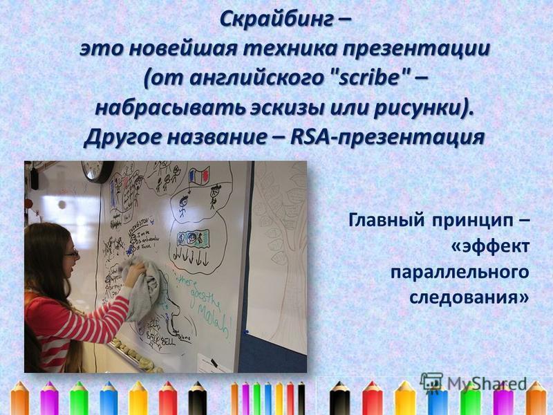 Скрайбинг – это новейшая техника презентации (от английского scribe – набрасывать эскизы или рисунки). Другое название – RSA-презентация Главный принцип – «эффект параллельного следования»