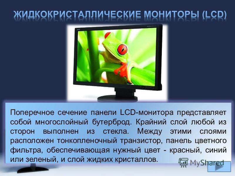 Page 18 Поперечное сечение панели LCD-монитора представляет собой многослойный бутерброд. Крайний слой любой из сторон выполнен из стекла. Между этими слоями расположен тонкопленочный транзистор, панель цветного фильтра, обеспечивающая нужный цвет -