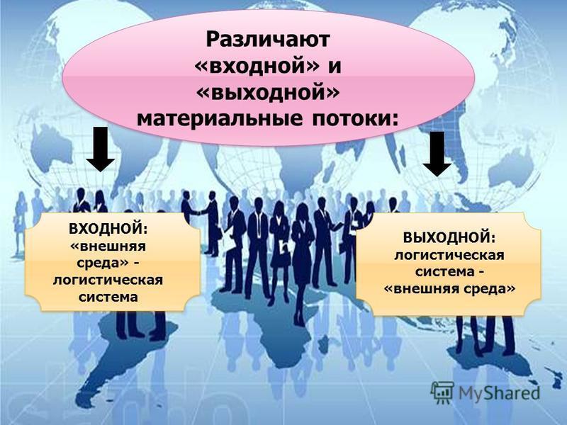 Различают «входной» и «выходной» материальные потоки: ВХОДНОЙ: «внешняя среда» - логистическая система ВЫХОДНОЙ: логистическая система - «внешняя среда»
