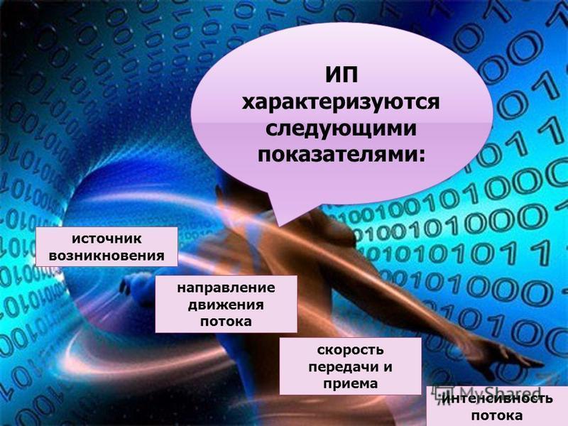 ИП характеризуются следующими показателями: источник возникновения направление движения потока интенсивность потока скорость передачи и приема