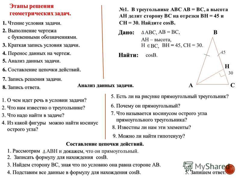 Этапы решения геометрических задач. 1. Чтение условия задачи. 2. Выполнение чертежа с буквенными обозначениями. с буквенными обозначениями. 3. Краткая запись условия задачи. 4. Перенос данных на чертеж. 5. Анализ данных задачи. 6. Составление цепочки