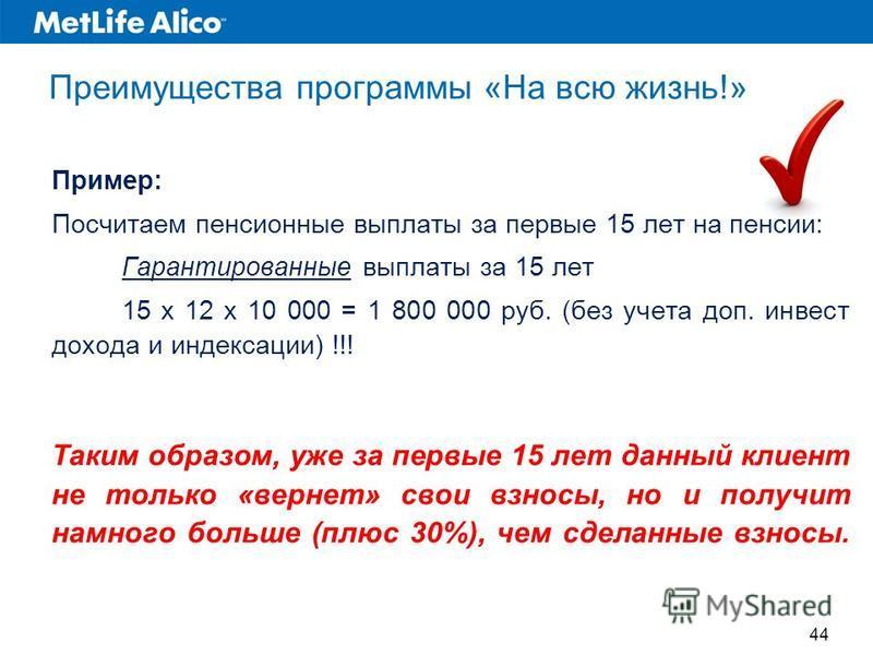 Преимущества программы «На всю жизнь!» Пример: Посчитаем пенсионные выплаты за первые 15 лет на пенсии: Гарантированные выплаты за 15 лет 15 x 12 x 10 000 = 1 800 000 руб. (без учета доп. инвест дохода и индексации) !!! Таким образом, уже за первые 1