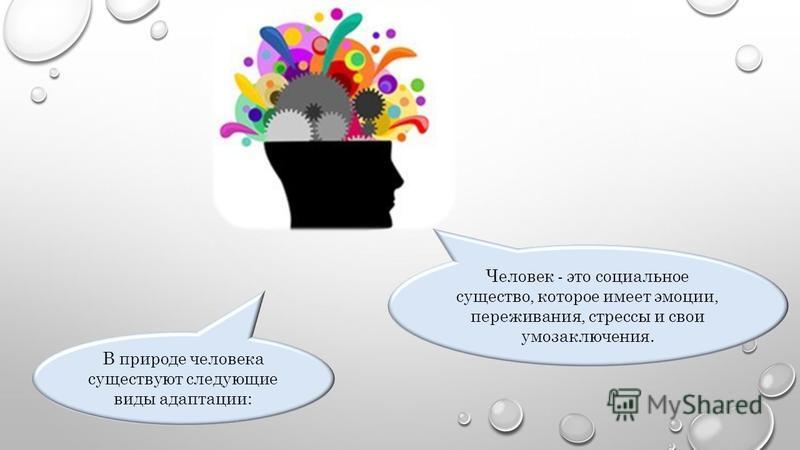 Человек - это социальное существо, которое имеет эмоции, переживания, стрессы и свои умозаключения. В природе человека существуют следующие виды адаптации: