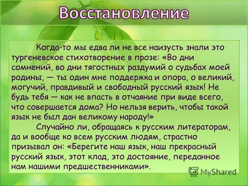Когда-то мы едва ли не все наизусть знали это тургеневское стихотворение в прозе: «Во дни сомнений, во дни тягостных раздумий о судьбах моей родины, ты один мне поддержка и опора, о великий, могучий, правдивый и свободный русский язык! Не будь тебя к