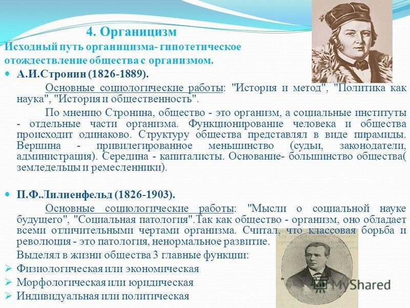 4. Органицизм Исходный путь органицизма- гипотетическое отождествление общества с организмом. А.И.Стронин (1826-1889). Основные социологические работы: