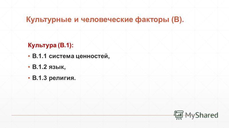 Культурные и человеческие факторы (В). Культура (В.1): В.1.1 система ценностей, В.1.2 язык, В.1.3 религия.