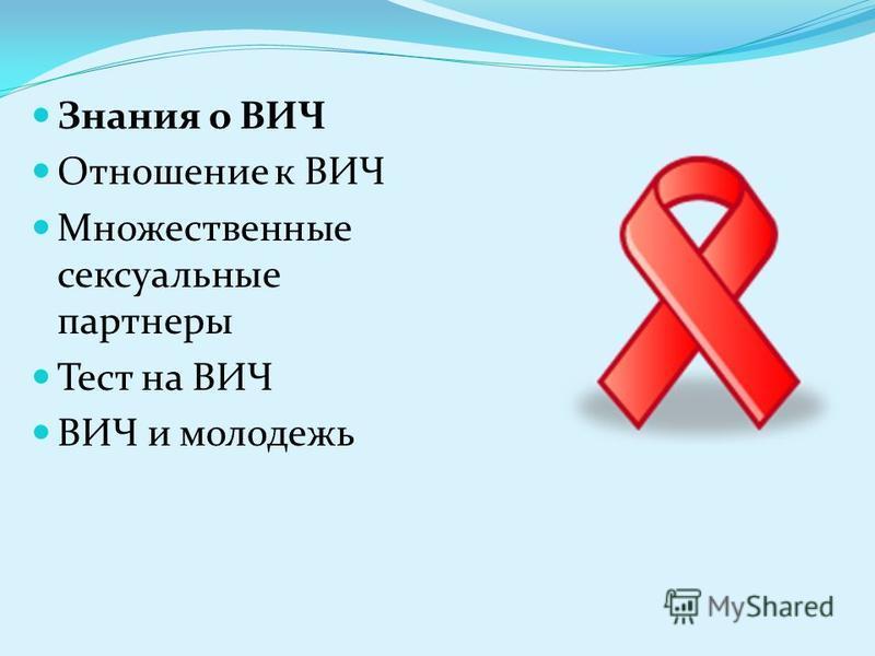 Знания о ВИЧ Отношение к ВИЧ Множественные сексуальные партнеры Тест на ВИЧ ВИЧ и молодежь