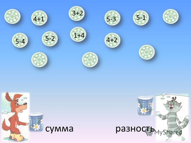сумма разность 4+1 5-2 5-3 3+2 5-4 1+4 4+2 5-1