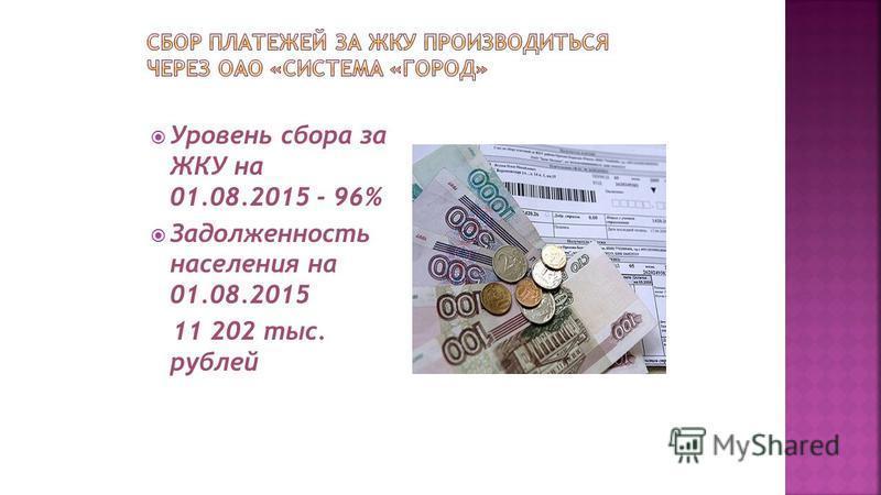 Уровень сбора за ЖКУ на 01.08.2015 - 96% Задолженность населения на 01.08.2015 11 202 тыс. рублей