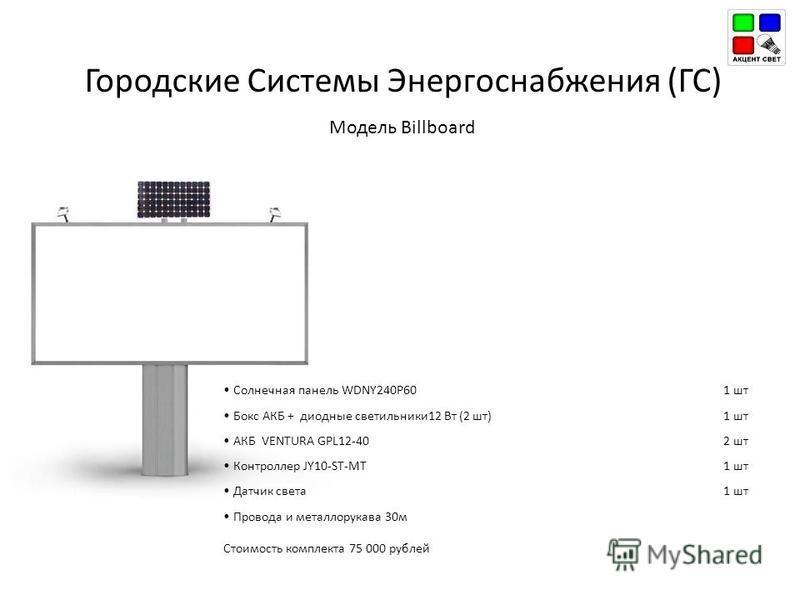 Городские Системы Энергоснабжения (ГС) Модель Billboard Солнечная панель WDNY240P601 шт Бокс АКБ + диодные светильники 12 Вт (2 шт)1 шт АКБ VENTURA GPL12-402 шт Контроллер JY10-ST-MT1 шт Датчик света 1 шт Провода и металлорукава 30 м Стоимость компле