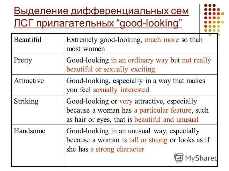 Выделение дифференциальных сем ЛСГ прилагательных good-looking BeautifulExtremely good-looking, much more so than most women PrettyGood-looking in an ordinary way but not really beautiful or sexually exciting AttractiveGood-looking, especially in a w