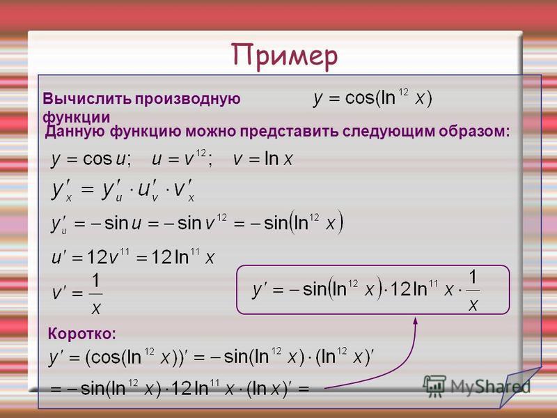Пример Вычислить производную функции Данную функцию можно представить следующим образом: Коротко: