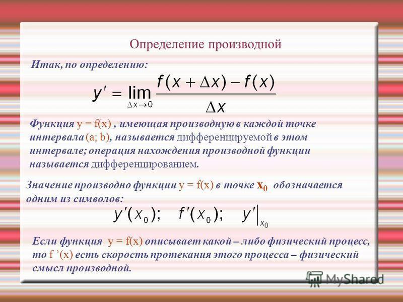 Определение производной Итак, по определению: Функция y = f(x), имеющая производную в каждой точке интервала (a; b), называется дифференцируемой в этом интервале; операция нахождения производной функции называется дифференцированием. Значение произво