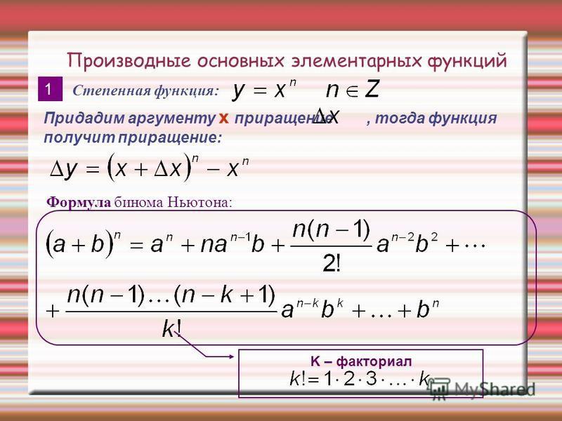 Производные основных элементарных функций 1 Формула бинома Ньютона: Степенная функция: Придадим аргументу x приращение, тогда функция получит приращение: K – факториал