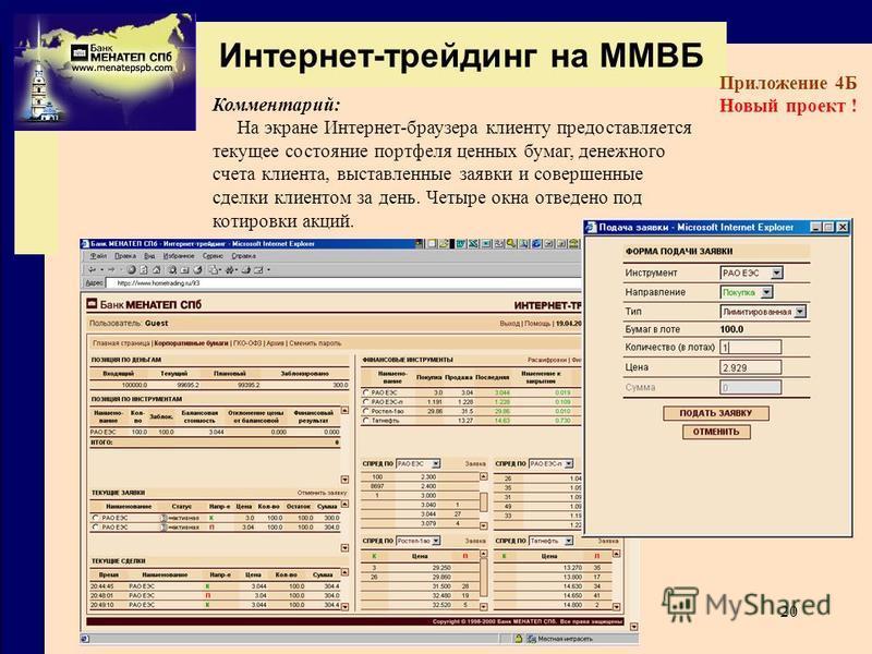 20 Интернет-трейдинг на ММВБ Приложение 4Б Новый проект ! Комментарий: На экране Интернет-браузера клиенту предоставляется текущее состояние портфеля ценных бумаг, денежного счета клиента, выставленные заявки и совершенные сделки клиентом за день. Че