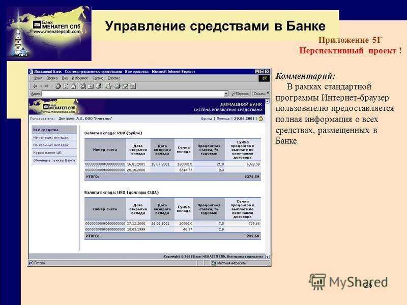 26 Управление средствами в Банке Приложение 5Г Перспективный проект ! Комментарий: В рамках стандартной программы Интернет-браузер пользователю предоставляется полная информация о всех средствах, размещенных в Банке.