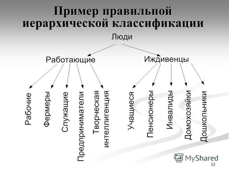 22 Пример правильной иерархической классификации