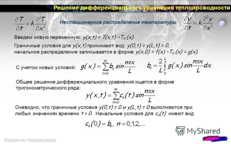 Решение дифференциального уравнения теплопроводности Нестационарное распределение температуры Нестационарное распределение температуры Введем новую переменную: y(x,t) = T(x,t) T 0 (x). Граничные условия для y(x,t) принимают вид: y(0,t) = y(L,t) = 0,