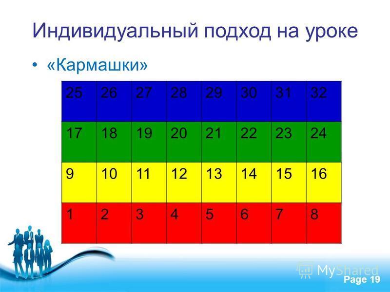 Free Powerpoint Templates Page 19 Индивидуальный подход на уроке «Кармашки» 2526272829303132 1718192021222324 910111213141516 12345678