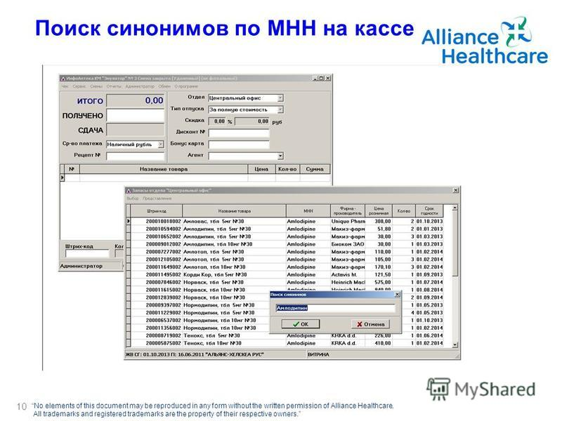 No elements of this document may be reproduced in any form without the written permission of Alliance Healthcare. All trademarks and registered trademarks are the property of their respective owners. Поиск синонимов по МНН на кассе 10