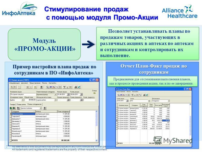 No elements of this document may be reproduced in any form without the written permission of Alliance Healthcare. All trademarks and registered trademarks are the property of their respective owners. Позволяет устанавливать планы по продажам товаров,