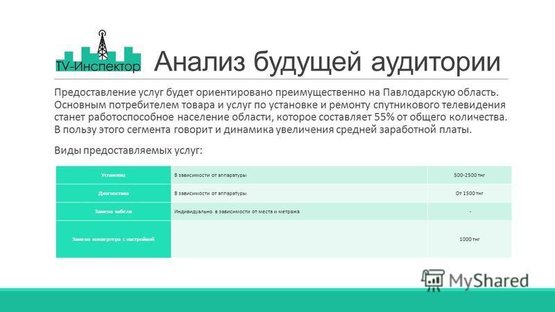 Анализ будущей аудитории Предоставление услуг будет ориентировано преимущественно на Павлодарскую область. Основным потребителем товара и услуг по установке и ремонту спутникового телевидения станет работоспособное население области, которое составля