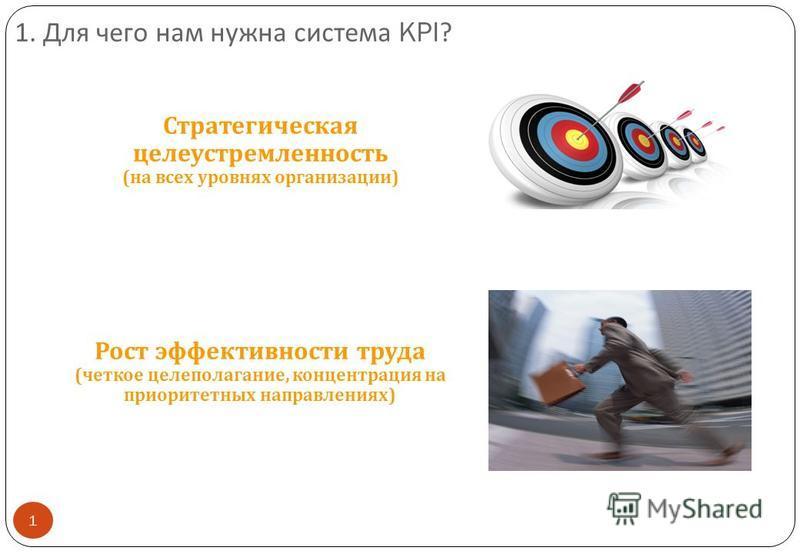1. Для чего нам нужна ссистема KPI? 1 Стратегическая целеустремленность ( на всех уровнях организации ) Рост эффективности труда ( четкое целеполагание, концентрация на приоритетных направлениях )