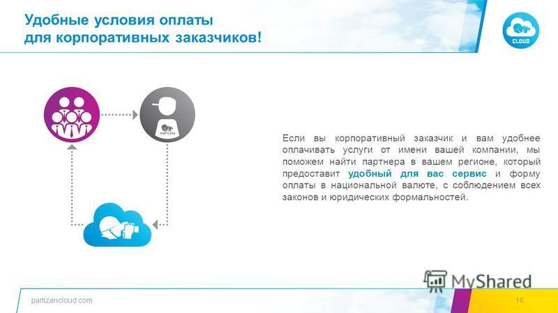 partizancloud.com1616 Если вы корпоративный заказчик и вам удобнее оплачивать услуги от имени вашей компании, мы поможем ннайти партнера в вашем регионе, который предоставит удобный для вас сервис и форму оплаты в национальной валюте, с соблюдением в