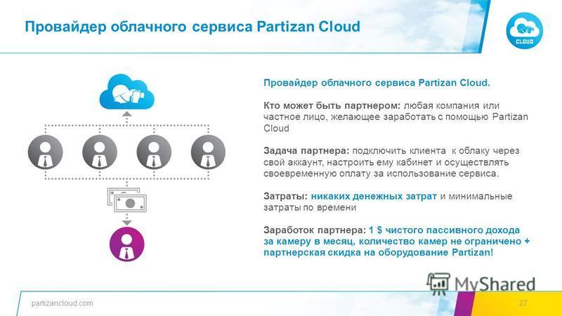 partizancloud.com27 Провайдер облачного сервиса Partizan Cloud. Кто может быть партнером: любая компания или частное лицо, желающее заработать с помощью Partizan Cloud Задача партнера: подключить клиента к облаку через свой аккаунт, настроить ему каб