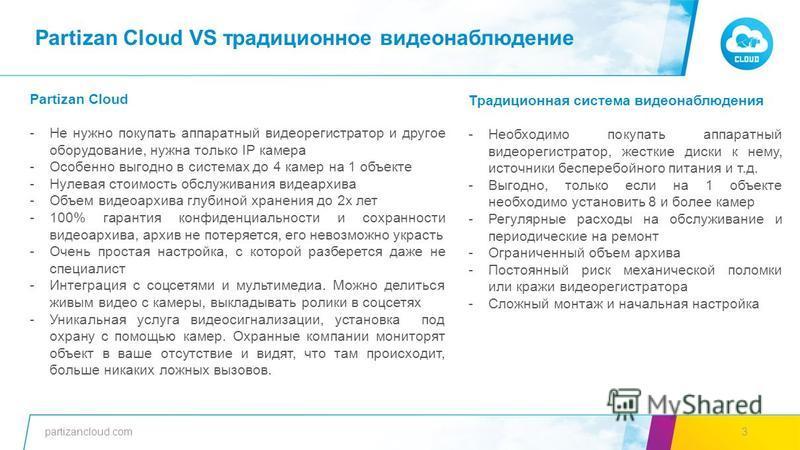 partizancloud.com3 Традиционная система видеонаблюдения -Необходимо покупать аппаратный видеорегистратор, жесткие диски к нему, источники бесперебойного питания и т.д. -Выгодно, только если на 1 объекте необходимо установить 8 и более камер -Регулярн