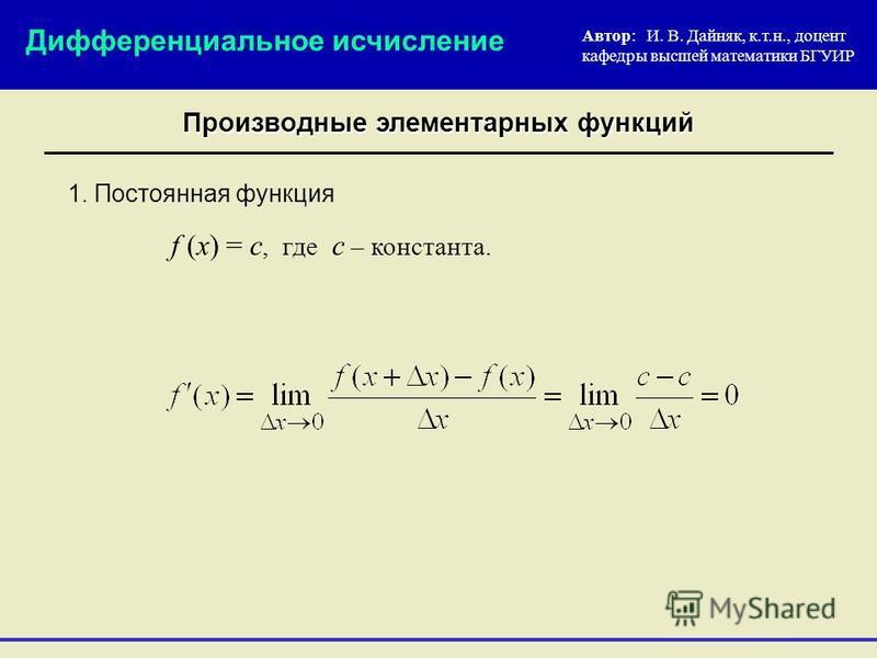 1. Постоянная функция f (x) = c, где с – константа. Автор: И. В. Дайняк, к.т.н., доцент кафедры высшей математики БГУИР Дифференциальное исчисление Производные элементарных функций