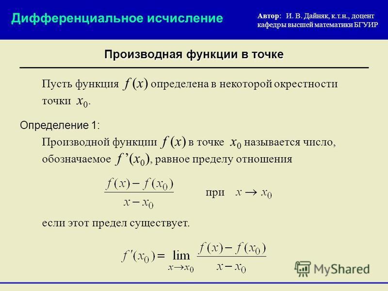 Производная функции в точке Пусть функция f (x) определена в некоторой окрестности точки х 0. Производной функции f (x) в точке x 0 называется число, обозначаемое f (x 0 ), равное пределу отношения Автор: И. В. Дайняк, к.т.н., доцент кафедры высшей м