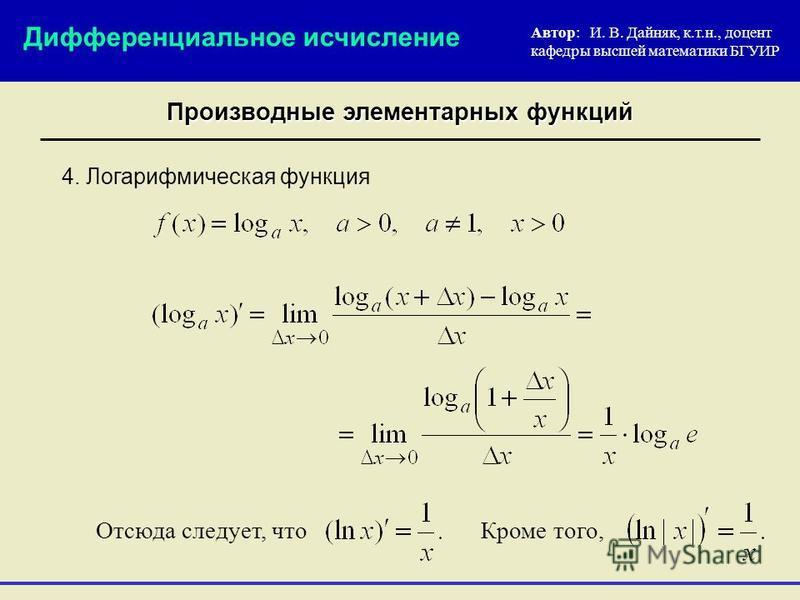 4. Логарифмическая функция Автор: И. В. Дайняк, к.т.н., доцент кафедры высшей математики БГУИР Дифференциальное исчисление Производные элементарных функций Отсюда следует, что Кроме того,
