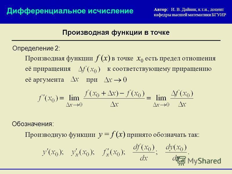 Определение 2: Автор: И. В. Дайняк, к.т.н., доцент кафедры высшей математики БГУИР Производную функции y = f (x) принято обозначать так: Дифференциальное исчисление Производная функции в точке Обозначения: Производная функции f (x) в точке x 0 есть п