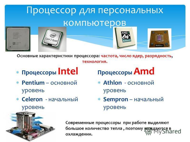 Процессор для персональных компьютеров Процессоры Intel Pentium – основной уровень Celeron - начальный уровень Процессоры Amd Athlon - основной уровень Sempron – начальный уровень Основные характеристики процессора: частота, число ядер, разрядность,