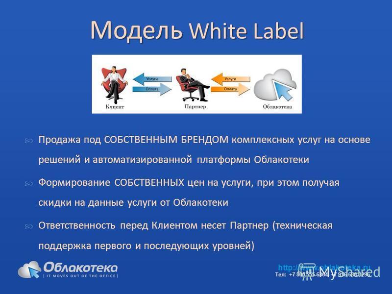 Модель White Label Продажа под СОБСТВЕННЫМ БРЕНДОМ комплексных услуг на основе решений и автоматизированной платформы Облакотеки Формирование СОБСТВЕННЫХ цен на услуги, при этом получая скидки на данные услуги от Облакотеки Ответственность перед Клие