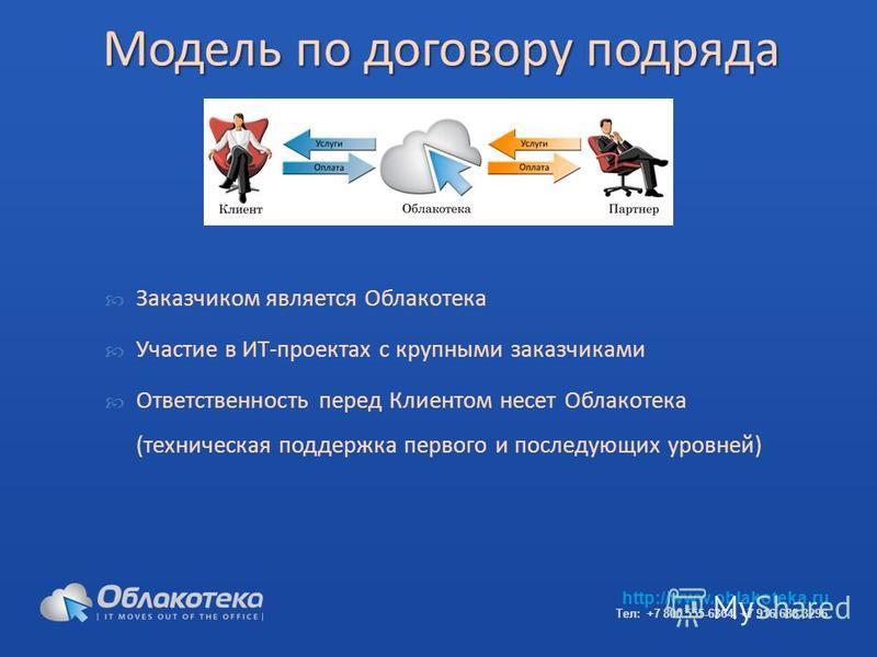 Модель по договору подряда Заказчиком является Облакотека Участие в ИТ-проектах с крупными заказчиками Ответственность перед Клиентом несет Облакотека (техническая поддержка первого и последующих уровней) http://www.oblakoteka.ru Тел: +7 800 555-6364