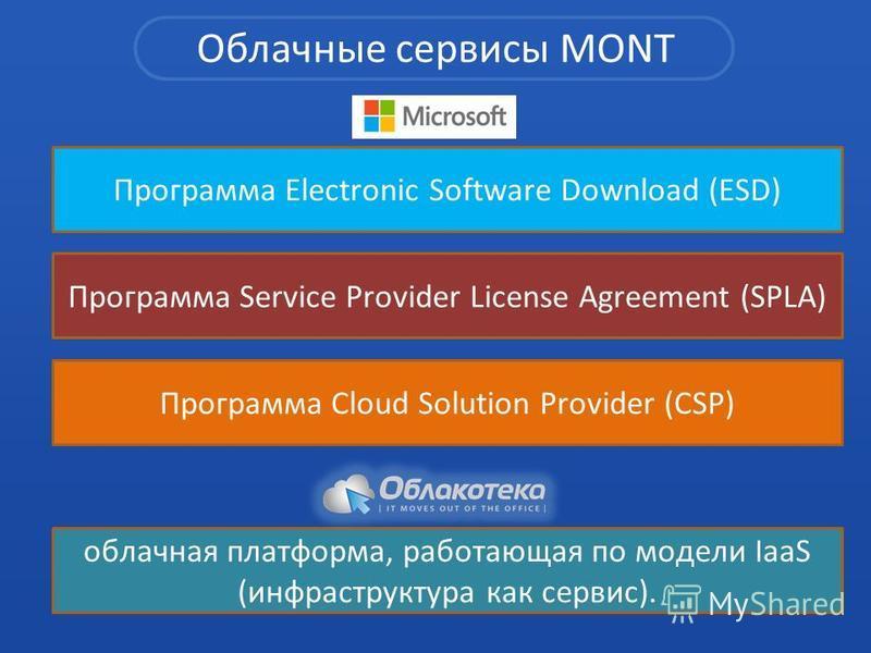 Облачные сервисы MONT Программа Cloud Solution Provider (CSP) Программа Electronic Software Download (ESD) Программа Service Provider License Agreement (SPLA) облачная платформа, работающая по модели IaaS (инфраструктура как сервис).