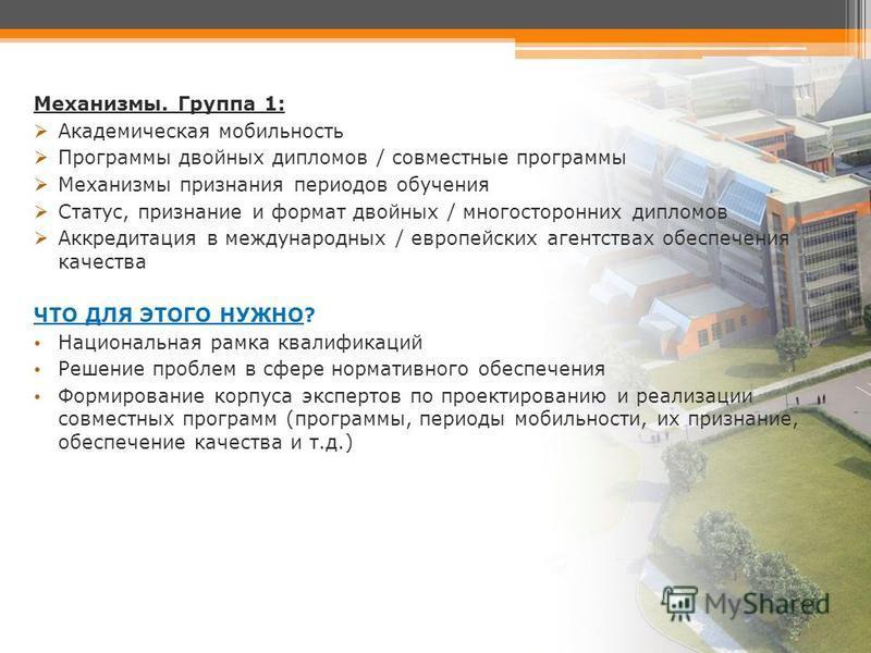 Механизмы. Группа 1: Академическая мобильность Программы двойных дипломов / совместные программы Механизмы признания периодов обучения Статус, признание и формат двойных / многосторонних дипломов Аккредитация в международных / европейских агентствах